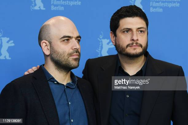 "Roberto Saviano and Claudio Giovannesi pose at the ""Piranhas"" photocall during the 69th Berlinale International Film Festival Berlin at Grand Hyatt..."