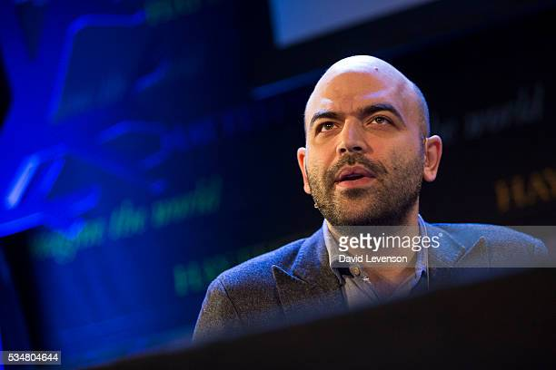 Roberto Saviano Italian investigative journalist and author of Gomorrah and ZeroZeroZero at the Hay Festival on May 28 2016 in HayonWye Wales