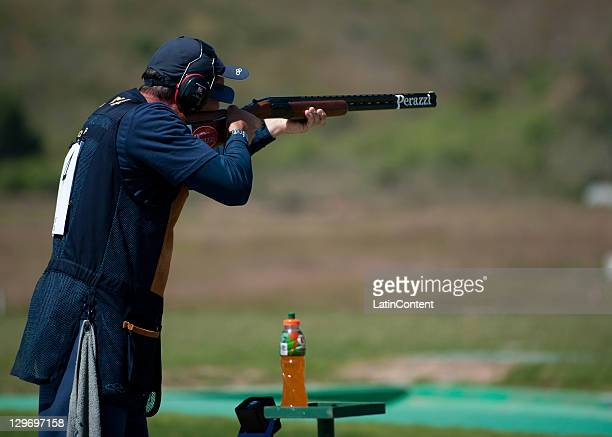 Roberto Schmits of brasil during competes in the Shooting Men's Trap as part of 2011 XVI Pan American Games at Club Cinegetico Jaliscenses on October...