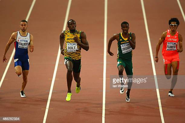 Roberto Skyers of Cuba Daniel Talbot of Great Britain Usain Bolt of Jamaica and Anaso Jobodwana of South Africa compete in the Men's 200 metres...