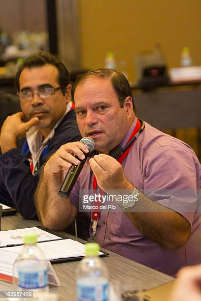 Roberto Solano of Costa Rica talks during the CONCECADE presentation as part of XIX Sports Minister of America and Iberoamerica Meeting Organized by...