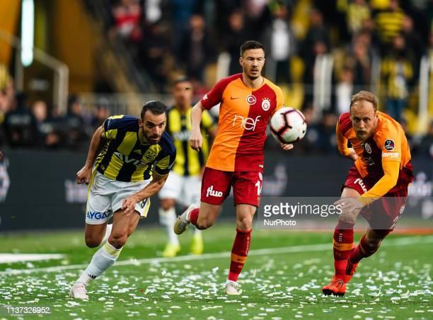 Roberto Soldado of Fenerbache and Semih Kaya of Galatasaray during the Turkish Super Lig match between Fenerbache and Galatasaray at the ükrü...
