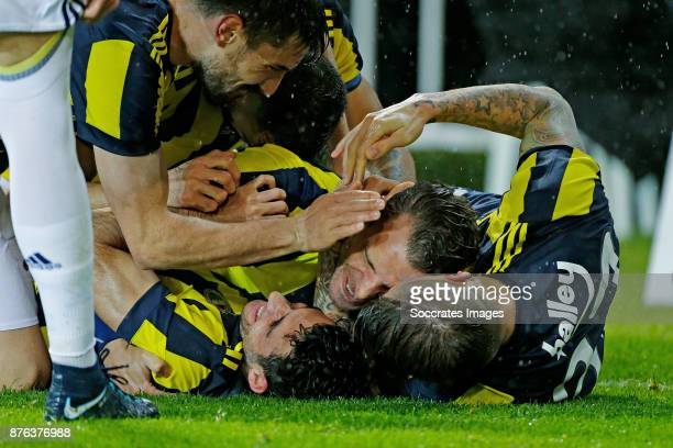 Roberto Soldado of Fenerbahce celebrates 21 Martin Skrtel of Fenerbahce during the Turkish Super lig match between Fenerbahce v Sivasspor at the...