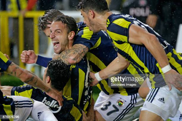 Roberto Soldado of Fenerbahce celebrates 21 with Martin Skrtel of Fenerbahce Guiliano of Fenerbahce during the Turkish Super lig match between...