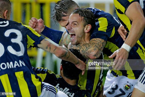 Roberto Soldado of Fenerbahce celebrates 21 with Martin Skrtel of Fenerbahce during the Turkish Super lig match between Fenerbahce v Sivasspor at the...