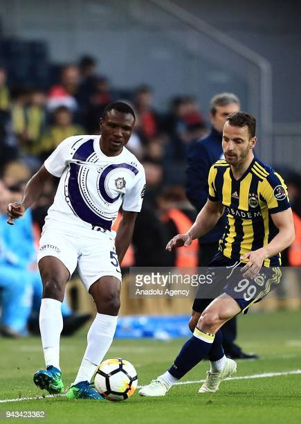 Roberto Soldado of Fenerbahce in action against Aminu Umar of Osmanlispor during the Turkish Super Lig football match between Fenerbahce and...