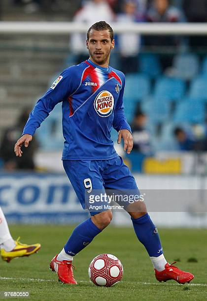 Roberto Soldado of Getafe in action during the La Liga match between Getafe and Mallorca at Coliseum Alfonso Perez on March 13 2010 in Getafe Spain