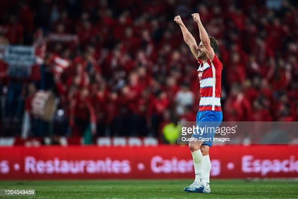 Roberto Soldado of Granada CF celebrates scoring his team's second goal during the Copa del Rey quarter final match between Granada CF and Valencia...