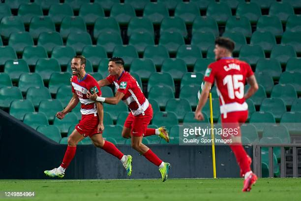 Roberto Soldado of Granada CF equalizes the match 22 with scoring at 902 minute during the Liga match between Real Betis Balompie and Granada CF at...