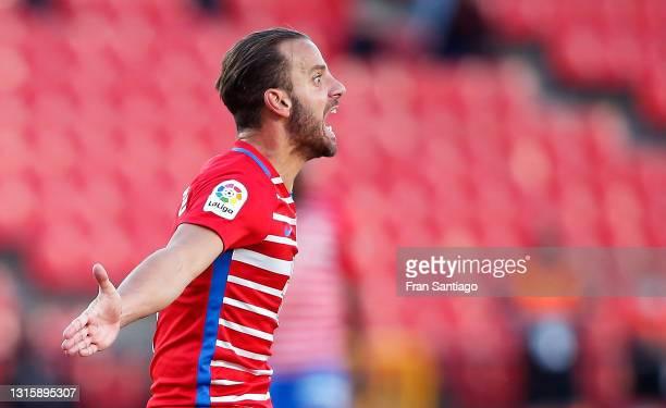Roberto Soldado of Granada CF reacts during the La Liga Santander match between Granada CF and Cadiz CF at Estadio Nuevo Los Carmenes on May 02, 2021...