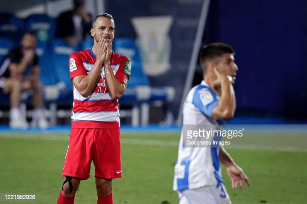 Roberto Soldado of Granada during the La Liga Santander match between Leganes v Granada at the Estadio Municipal de Butarque on June 22, 2020 in...