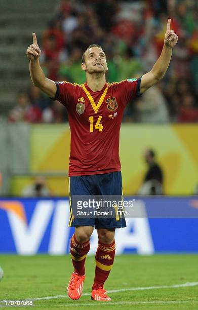 Roberto Soldado of Spain celebrates as he scores their second goal during the FIFA Confederations Cup Brazil 2013 Group B match between Spain and...