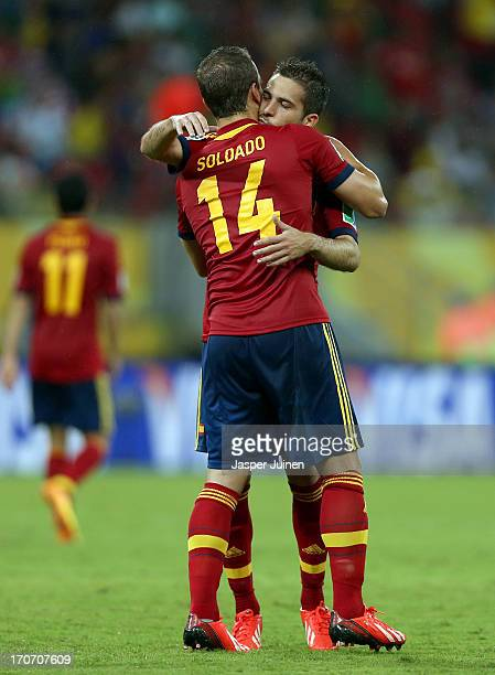 Roberto Soldado of Spain celebrates with Jordi Alba as he scores their second goal during the FIFA Confederations Cup Brazil 2013 Group B match...