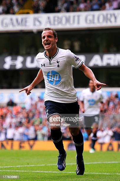 Roberto Soldado of Spurs celebrates after scoring the opening goal from the penalty spot during the Barclays Premier League match between Tottenham...