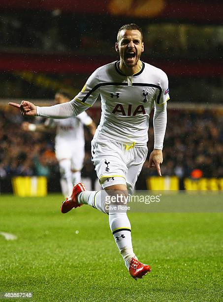 Roberto Soldado of Spurs celebrates as he scores their first goal during the UEFA Europa League Round of 32 first leg match between Tottenham Hotspur...
