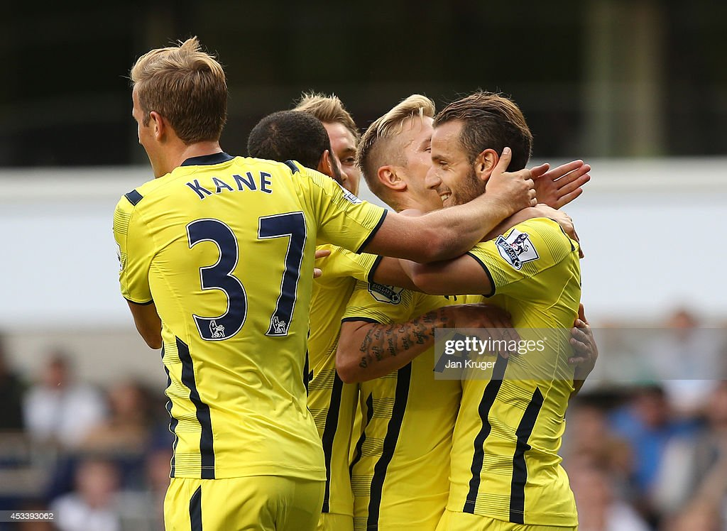 Roberto Soldado (R) of Spurs celebrates his goal with team mates during a pre season friendly match between Tottenham Hotspur and FC Schalke at White Hart Lane on August 9, 2014 in London, England.