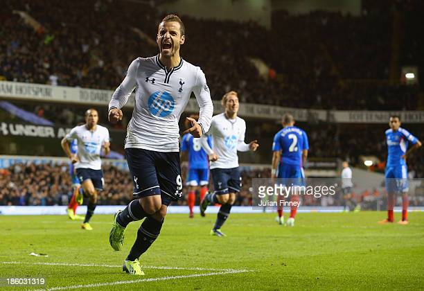Roberto Soldado of Spurs celebrates scoring their first goal during the Barclays Premier League match between Tottenham Hotspur and Hull City at...