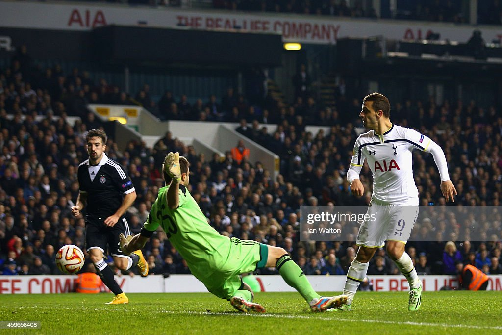 Roberto Soldado of Spurs has an attempt at goal during the UEFA Europa League group C match between Tottenham Hotspur FC and FK Partizan at White Hart Lane on November 27, 2014 in London, United Kingdom.
