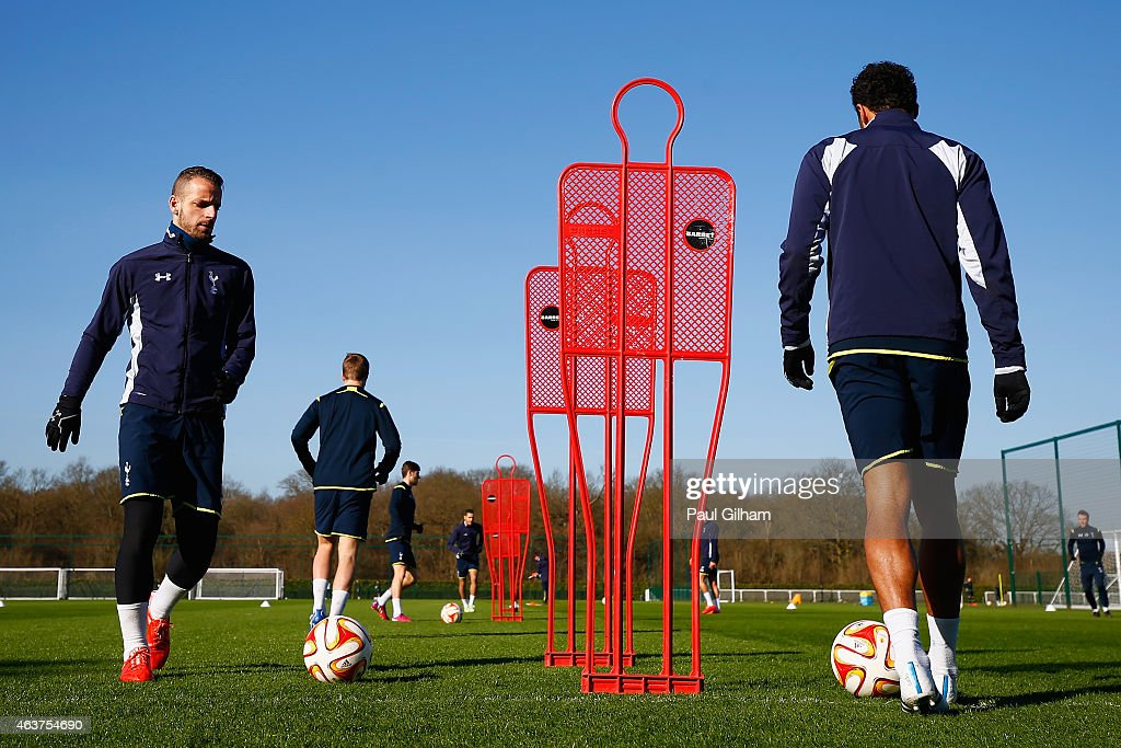 Roberto Soldado of Spurs on the ball during a training session ahead of the UEFA Europa League round of 32 first leg match against Fiorentina at Enfield Training Centre on February 18, 2015 in Enfield, United Kingdom.