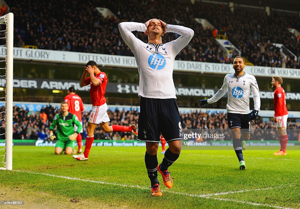 Roberto Soldado of Tottenham Hotspur celebrates scoring the opening goal during the Barclays Premier League match between Tottenham Hotspur and Cardiff City at White Hart Lane on March 2, 2014 in London, England.