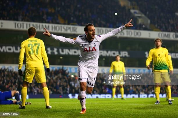 Roberto Soldado of Tottenham Hotspur celebrates scoring their first goal during the UEFA Europa League Group K match between Tottenham Hotspur FC and...
