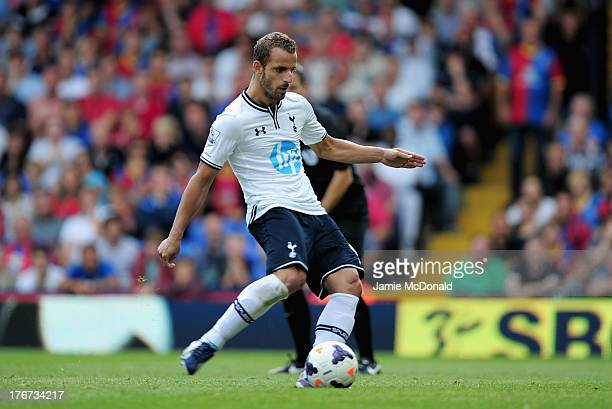 Roberto Soldado of Tottenham Hotspur scores from the penalty spot during the Barclays Premier League match between Crystal Palace and Tottenham...