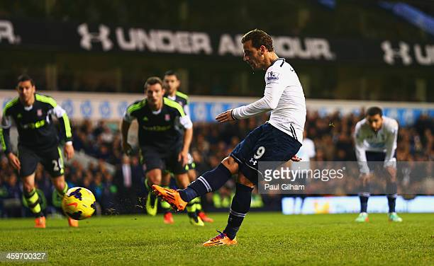 Roberto Soldado of Tottenham Hotspur scores from the penalty spot during the Barclays Premier League match between Tottenham Hotspur and Stoke City...