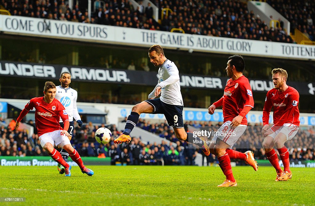 Roberto Soldado of Tottenham Hotspur scores the opening goal during the Barclays Premier League match between Tottenham Hotspur and Cardiff City at White Hart Lane on March 2, 2014 in London, England.
