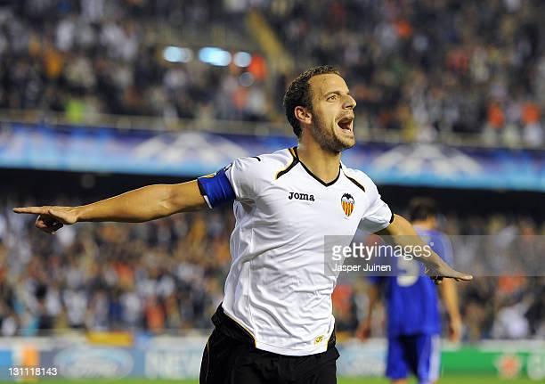 Roberto Soldado of Valencia celebrates scoring his sides second goal during the UEFA Champions League group E match between Valencia CF v Bayer 04...