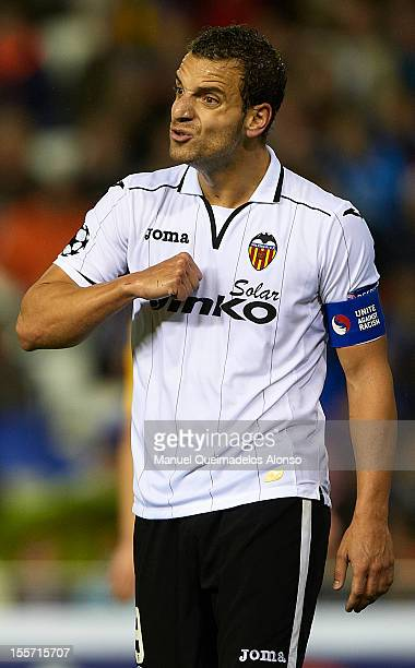 Roberto Soldado of Valencia reacts during the UEFA Champions League group F match between Valencia CF and FC BATE Borisov at Estadi de Mestalla on...