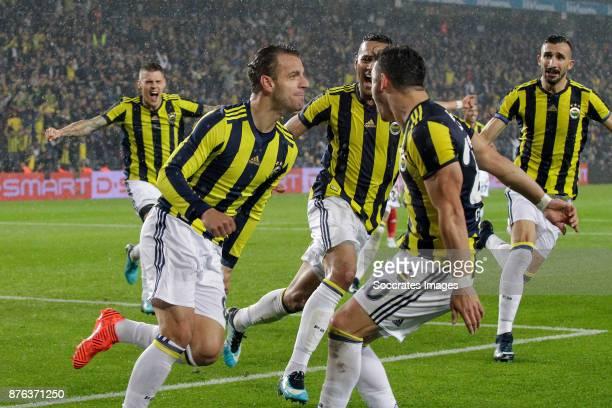 Roberto Soldado Rillo of Fenerbahce celebrates 2-1 during the Turkish Super lig match between Fenerbahce v Sivasspor at the Sukru Saracoglustadion on...