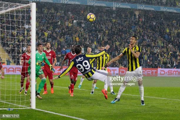 Roberto Soldado Rillo of Fenerbahce scores 2-1 during the Turkish Super lig match between Fenerbahce v Sivasspor at the Sukru Saracoglustadion on...