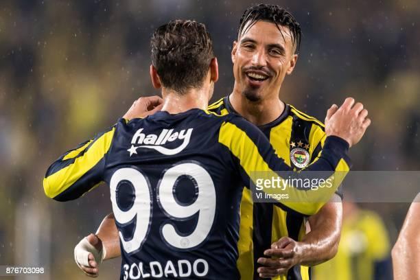 Roberto Soldado Rillo of Fenerbahce SK Nabil Dirar of Fenerbahce SK during the Turkish Spor Toto Super Lig football match between Fenerbahce and...