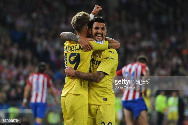 Roberto Soriano #20 of Villareal celebrates after scoring his team's first goal with Samu Castillejo #19 of Villareal during The La Liga match...