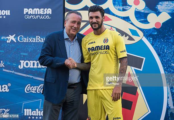 Roberto Soriano ex player of Sampdoria during his presentation as new player of Villarreal CF with Fernando Roig at Ciudad Deportiva on august