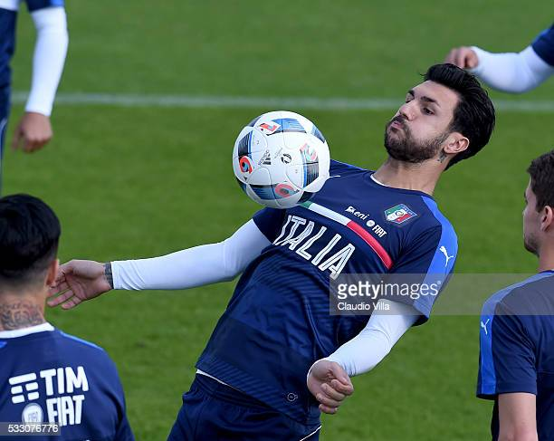 Roberto Soriano in action during the Italy training session at the club's training ground at Coverciano on May 20 2016 in Florence Italy