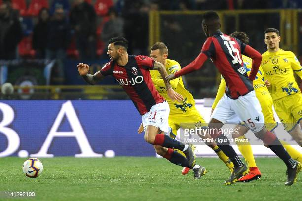 Roberto Soriano of Bologna FC in action during the Serie A match between Bologna FC and Chievo at Stadio Renato Dall'Ara on April 08 2019 in Bologna...