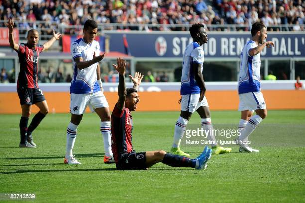 Roberto Soriano of Bologna FC reacts during the Serie A match between Bologna FC and UC Sampdoria at Stadio Renato Dall'Ara on October 27 2019 in...
