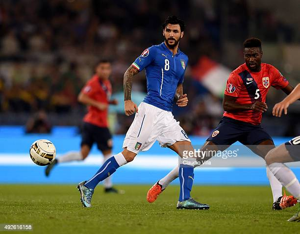 Roberto Soriano of Italy in action during the UEFA EURO 2016 Qualifier between Italy and Norway at Olimpico Stadium on October 13 2015 in Rome Italy
