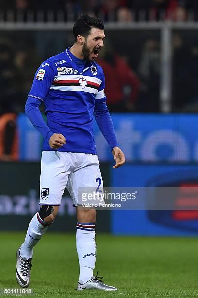 Roberto Soriano of UC Sampdoria celebrates after scoring the opening goal during the Serie A match between Genoa CFC and UC Sampdoria at Stadio Luigi...