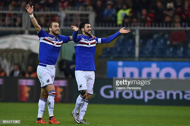 Roberto Soriano of UC Sampdoria celebrates after scoring the opening goal with team mate Lorenzo De Silvestri during the Serie A match between Genoa...