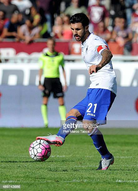 Roberto Soriano of UC Sampdoria in action during the Serie A match between Torino FC and UC Sampdoria at Stadio Olimpico di Torino on September 20...