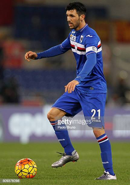 Roberto Soriano of UC Sampdoria in action during the Serie A match between AS Roma and UC Sampdoria at Stadio Olimpico on February 7 2016 in Rome...