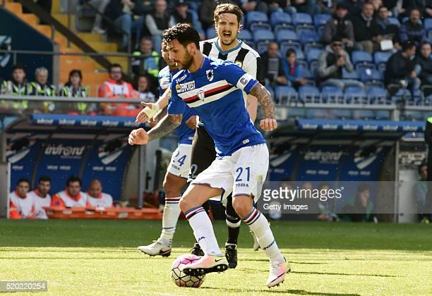 Roberto Soriano of UC Sampdoria in action during the Serie A match between UC Sampdoria and Udinese Calcio at Stadio Luigi Ferraris on April 10 2016...