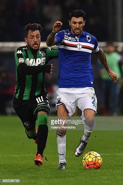 Roberto Soriano of UC Sampdoria is challenged by Karim Laribi of US Sassuolo Calcio during the Serie A match between UC Sampdoria and US Sassuolo...
