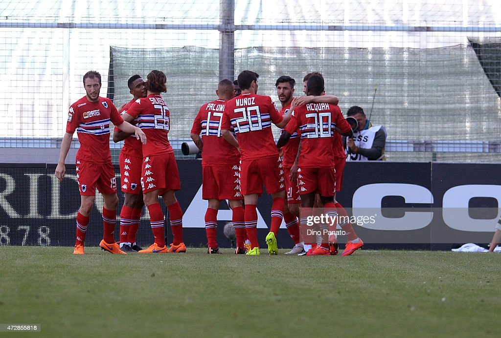 Roberto Soriano of UC Sampdoria is mobbed by team mates after scoring his opening goal during the Serie A match between Udinese Calcio and UC Sampdoria at Stadio Friuli on May 10, 2015 in Udine, Italy.