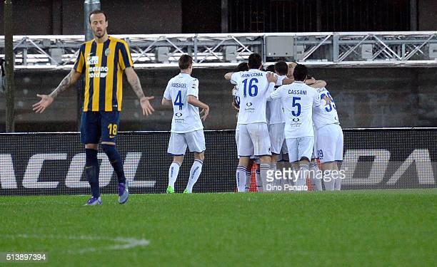 Roberto Soriano of UC Sampdoria is mobbed by team mates after scoring his opening goal during the Serie A match between Hellas Verona FC and UC...