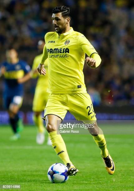 Roberto Soriano of Villarreal CF drives the ball during the international friendly match between Boca Juniors and Villarreal CF at Alberto J Armando...