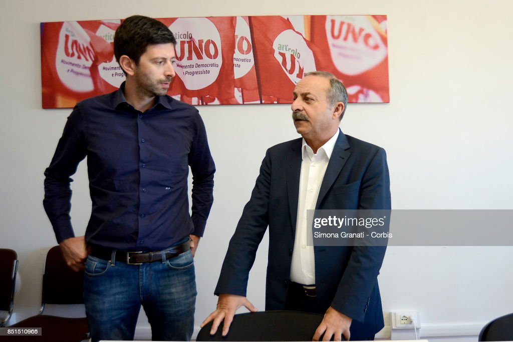 Roberto Speranza and Ciccio Ferrara in the Headquarter of the Movimento Democratici e progressisti (Democratic and Progressive Movement( in Via Zanardelli at the end of the meeting with Andrea Orlando,on September 22, 2017 in Rome, Italy.