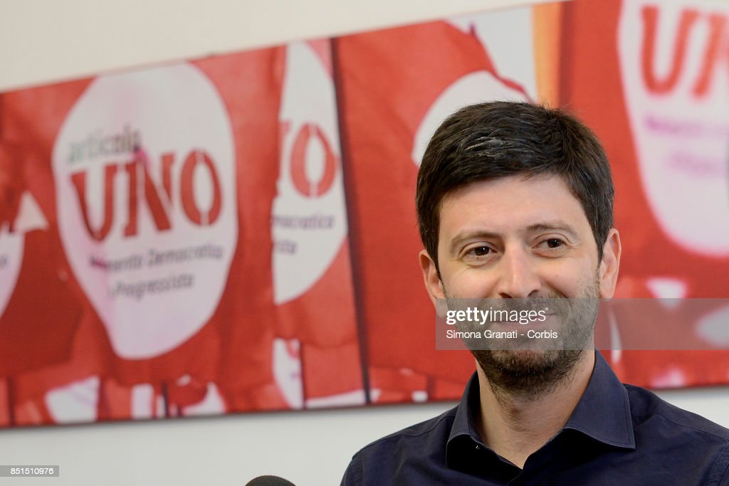 Roberto Speranza in the Headquarter of the Movimento Democratici e progressisti (Democratic and Progressive Movement) in Via Zanardelli at the end of the meeting with Andrea Orlando,on September 22, 2017 in Rome, Italy.